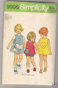 Child's Dress or Jumper, Top and Shorts Simplicity #9995 Sewing Pattern