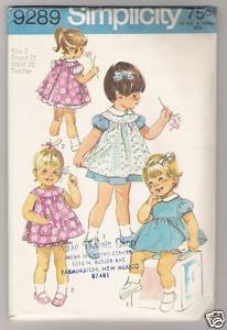 Toddlers' Dress, Pinafore and Panties Simplicity #9289 Sewing Pattern