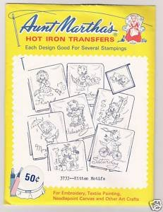 Kitten Motifs Hot Iron Transfers Aunt Martha's #3733