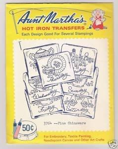 Fine Chinaware Motifs Hot Iron Transfers Aunt Martha's #3764