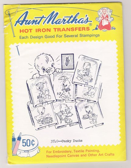 Ducky Ducks Hot Iron Transfers Aunt Martha's #3740