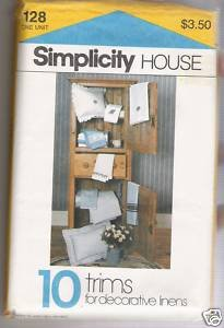 Pillow Sham & Trims for Decorative Linens Simplicity #128 Sewing Pattern