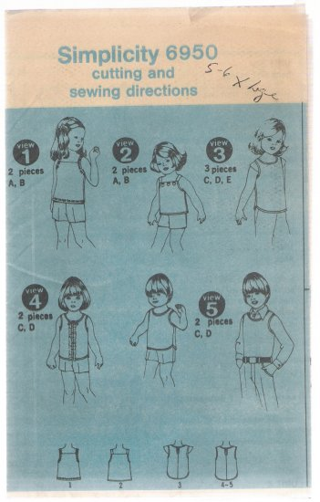 Children's Tops Simplicity #6950 Sewing Pattern