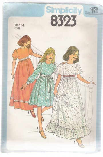 Girls' Dress in Two Lengths Simplicity # 8323 Sewing Pattern