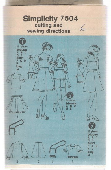 Childs' Blouse, Skirt and Bag Simplicity #7504 Sewing Pattern