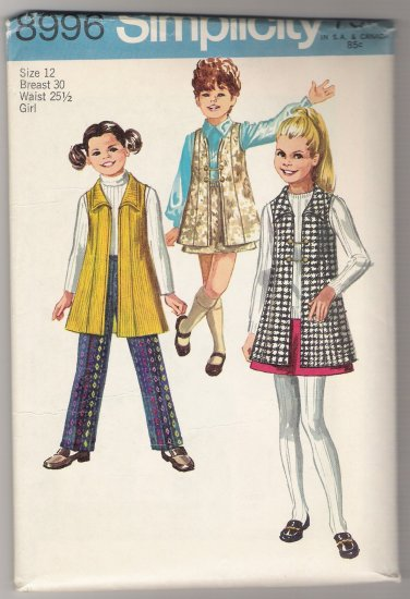 Girls' Vest-Coat, Skirt and Pants Simplicity #8996 Sewing Pattern