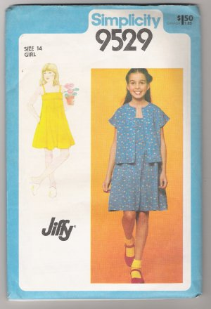 Girls' Pullover Sundress and Unlined Bolero Simplicity #9529 Sewing Pattern