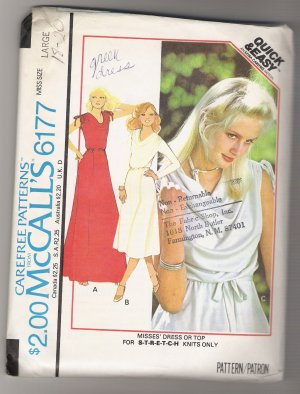 Misses' Dress or Top McCall's #6177 Sewing Pattern