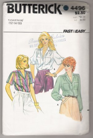 Misses Blouse Butterick Sewing Pattern #4496