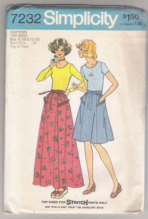 Misses' Tops & Skirts Simplicity #7232 Sewing Pattern