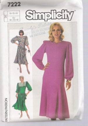 Misses' Dress Simplicity #7222 Sewing Pattern