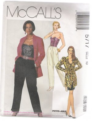 Misses' Unlined Jacket, Bustier, Skirt and Pants McCall's #5717 Sewing Pattern