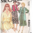 Misses' Dress or Top and Unlined Vest McCall's #6353 Sewing Pattern