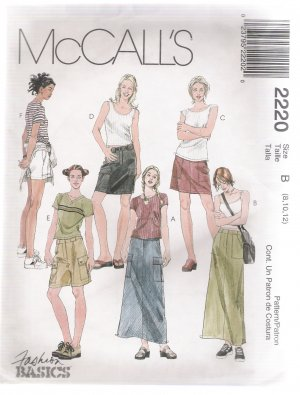 Misses' Skirts and Shorts, Both in Two Lengths McCall's #2220 Sewing Pattern