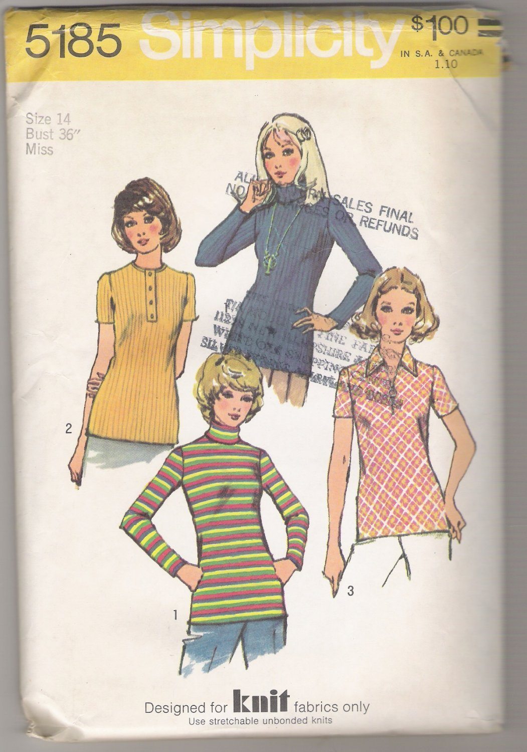 Misses' Set of Tops Simplicity #5185 Sewing Pattern