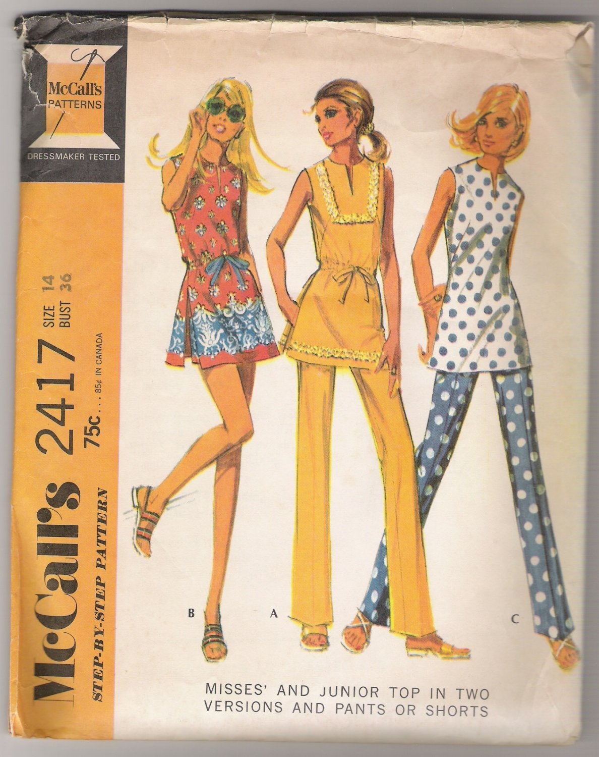 Misses' and Junior Top in Two Versions and Pants or Shorts McCall's #2417 Sewing Pattern