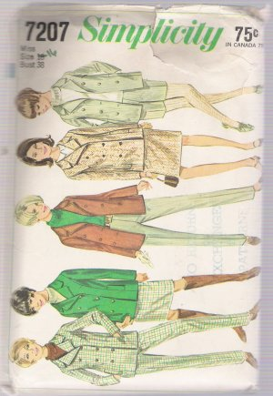 Misses' Jacket, Skirt and Pants in Two Lengths Simplicity #7207 Sewing Pattern