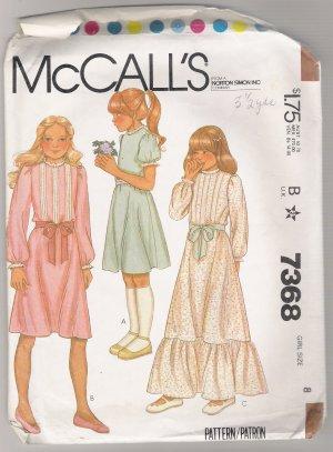 Girls' Dress McCall's #7368 Sewing Pattern