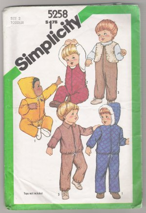 Toddlers' Overalls, Hooded or Unhooded Unlined Jacket and Lined Vest Simplicity #5258 Sewing Pattern