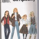 Girls' Pants, Skirt, Shirt and Lined Vest Simplicity #8563 Sewing Pattern