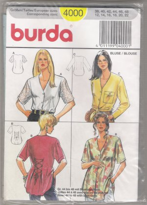 Misses' Blouses Burda #4000 Sewing Pattern