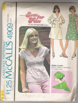 Misses' Dress or Top McCall's #4909 Sewing Pattern