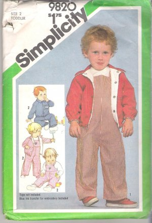 Toddlers' Overalls and Lined Jacket Simplicty #9820 Sewing Pattern