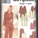 Incomplete Women's Jacket in Two Lengths, Top, Pants & Skirt Simplicity #7186 Sewing Pattern