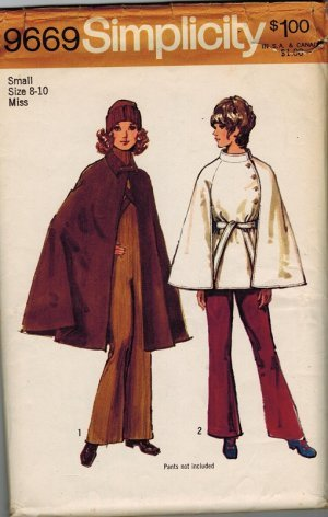 Incomplete:  Misses' Unlined Cape and Lined Short Cape Simplicity #9669 Sewing Pattern