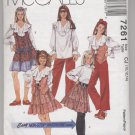 Girls' Lined Vest, Blouse, Pull-on Skirt & Pants McCall's #7261 Sewing Pattern