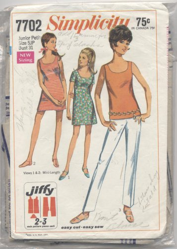 Junior Petites' and Misses' Mini-dress or Overblouse with Pants Simplicity #7702 Sewing Pattern