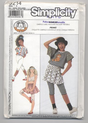 Girls' Tops, Cropped Pants and Skirt Simplicity #9214 Sewing Pattern