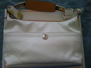 Coach Hamptons White Nylon Hobo Purse #11668