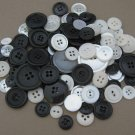 Lot 100 Assorted White and Black Plastic Sewing Buttons