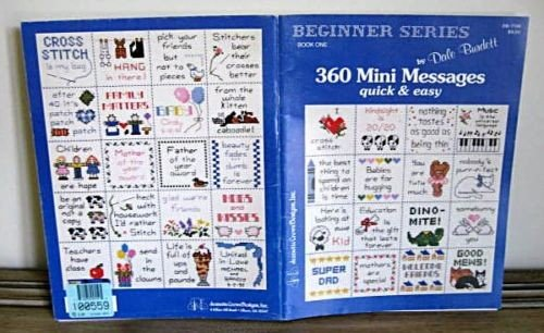 Counted Cross Stitch Pattern Booklet 360 Mini Messages Quick & Easy