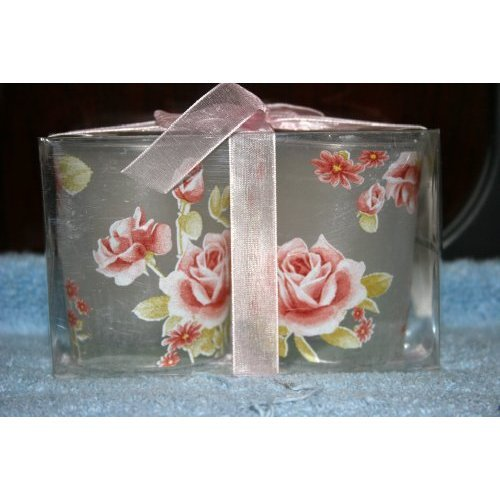 Tea Light Votive Candle Holder Roses 2 Pack Boxed