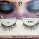 Black False Eye Lashes 100% Human Hair w/adhesive NIB