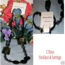Fashion Jewelry Black is Bold Necklace & Earrings New