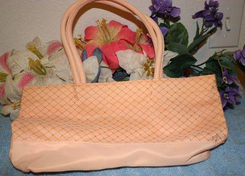 Avon Peach Purse 13 x 6.5 inches Velcro Closure Sequins