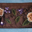 "Avon Brown Floral Clutch Bag 10"" x 4"" Sequins Nice New"