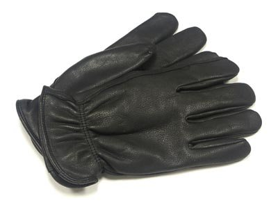UNISEX DEERSKIN LINED LEATHER GLOVES BLACK/ACORN/SADDLE