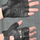 MEN'S BLACK LEATHER FINGERLESS MOTORCYCLE GLOVES