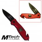 RED M-TECH FIRE FIGHTER FOLDING RESCUE POCKET KNIFE