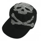 LADY'S BLACK SKULL STUDDED MILITARY BIKER CAP