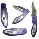 BLUE POLICE FOLDING POCKET KNIFE