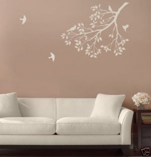 Wall Stencil Spring Songbirds, DIY Reusable stencils better than decal