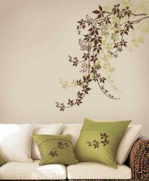 Wall Stencil Virginia Creeper MED, Reusable Stencil better than Decals