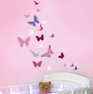 Wall stencil Butterfly Dance, Easy Wall Stencil for DIY Nursery Decor