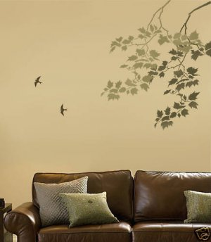 Wall Stencil Sycamore Weeping Branch, Reusable stencil for home decor