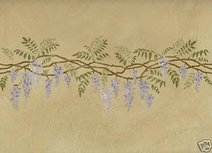 Wisteria Border Stencil - Reusable Stencils for DIY Wall Decor